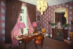 "The study next to Yves Saint Laurent's room, known as the """"Chambre Swann,"""" """"Château Gabriel,"""" Bénerville-sur-Mer, 1982. Photograph by Guy Marineau., © Musée Yves Saint Laurent Paris / Guy Marineau"