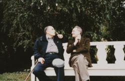 François Mitterrand and Pierre Bergé at the Château de Cormatin, near the Roche de Solutré, May 1989., © Gamma-Rapho