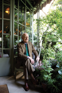 Pierre Bergé in his garden, Rue Bonaparte, Paris, 2015., © Eric Jansen