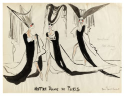 "Sketches of costumes for ""Les Dames"" at the beginning of the ballet Notre-Dame de Paris, choreographed by Roland Petit at the Palais Garnier, Opéra de Paris, 1965., © Musée Yves Saint Laurent Paris"