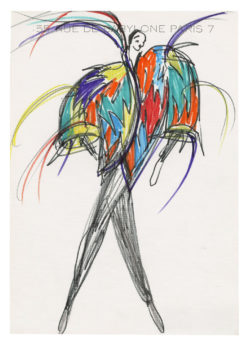 Sketch of a costume for the music-hall show Zizi dans un spectacle de Roland Petit at Bobino, Paris, 1977., © Musée Yves Saint Laurent Paris