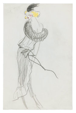 Sketch of a stage costume for Ingrid Caven in the show Ingrid Caven au Pigall's, directed by Daniel Schmind in 1978., © Musée Yves Saint Laurent Paris