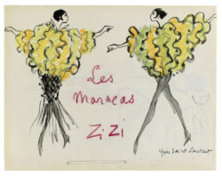 "Sketch of a costume for Zizi Jeanmaire in the ""Les Maracas"" act from the music-hall show Spectacle Zizi Jeanmaire, directed by Roland Petit at the Palais de Chaillot, Paris, 1963., © Musée Yves Saint Laurent Paris"