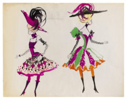 Croquis de costumes pour le tableau Frankie et Johnny du spectacle de music-hall Spectacle Zizi Jeanmaire, mis en scène par Roland Petit au Palais de Chaillot, Paris, 1963., © Musée Yves Saint Laurent Paris