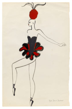 "Sketch of a costume for the ""Les Girls"" act from the music-hall show Zizi Je t'aime !, directed by Roland Petit at the Casino de Paris, 1972., © Musée Yves Saint Laurent Paris"