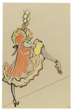 "Sketch of a costume for the ""Cancan cubain"" act from the music-hall show Zizi Je t'aime !, directed by Roland Petit at the Casino de Paris, 1972., © Musée Yves Saint Laurent Paris"