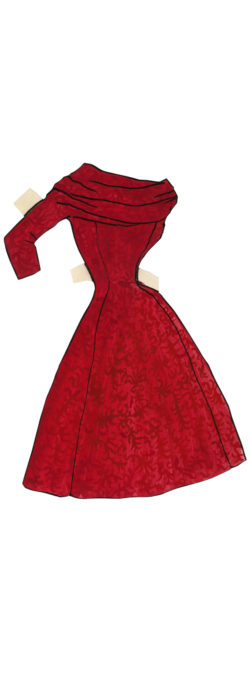 Daytime dress for the paper doll Suzy, 1953., © Musée Yves Saint Laurent Paris