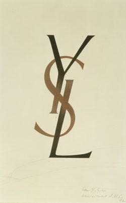 Logotype for the Yves Saint Laurent haute couture house created by the artist Cassandre (1901-1968) when the house was founded in 1961., © Musée Yves Saint Laurent Paris