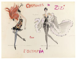 Sketches of costumes for Zizi Jeanmaire in the music-hall show Show Zizi Jeanmaire, directed by Roland Petit at the Théâtre de l'Olympia, Paris, 1968., © Musée Yves Saint Laurent Paris