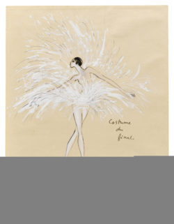 Sketch of a costume for Zizi Jeanmaire in the music-hall show Show Zizi Jeanmaire, directed by Roland Petit at the Théâtre de l'Olympia, Paris, 1968., © Musée Yves Saint Laurent Paris