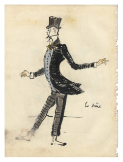 "Sketch of a costume for ""Le Père"" in the ballet La Chaloupée, choreographed by Roland Petit at the Copenhagen Opera in 1961., © Musée Yves Saint Laurent Paris"
