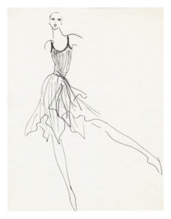 Sketch of a costume for the ballet La Rose malade (The Sick Rose), directed by Roland Petit at the Palais des Sports de Paris in 1973., © Musée Yves Saint Laurent Paris