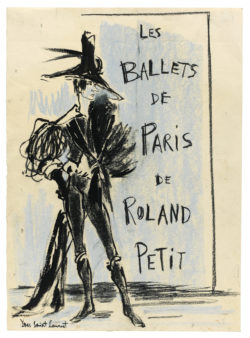 Sketch of a costume for Cyrano de Bergerac in the ballet of the same name, choreographed by Roland Petit at the Théâtre de l'Alhambra, Paris, 1959., © Musée Yves Saint Laurent Paris