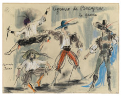 "Sketch of a costume for the ""La Guerre"" act in the ballet Cyrano de Bergerac, choreographed by Roland Petit at the Théâtre de l'Alhambra, Paris, 1959., © Musée Yves Saint Laurent Paris"