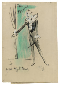 "Sketch of a costume for ""Le Prestidigitateur"" in the televised ballet Les Forains, choreographed by Roland Petit and broadcast in France on December 24, 1961., © Musée Yves Saint Laurent Paris"