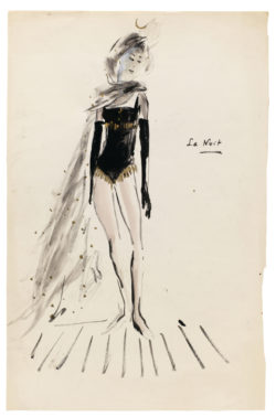 "Sketch of a costume for ""La Nuit"" in the televised ballet Les Forains, choreographed by Roland Petit and broadcast in France on December 24, 1961., © Musée Yves Saint Laurent Paris"