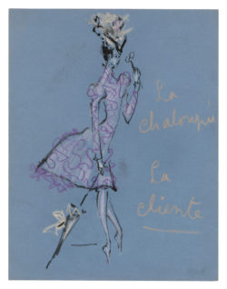 "Sketch of a costume for ""La Cliente"" in the ballet La Chaloupée, choreographed by Roland Petit at the Copenhagen Opera in 1961., © Musée Yves Saint Laurent Paris"