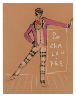 Sketch of a costume for the ballet La Chaloupée, choreographed by Roland Petit at the Copenhagen Opera in 1961., © Musée Yves Saint Laurent Paris