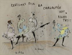 "Costumes for ""Les Filles"" and ""La Mariée"" in the ballet La Chaloupée, choreographed by Roland Petit at the Copenhagen Opera in 1961., © Musée Yves Saint Laurent Paris"