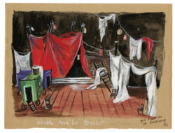 Croquis de décor (non réalisé) pour le ballet Les Forains d'Henri Sauguet, 1951, Musée Yves Saint Laurent Paris, © Fondation Pierre Bergé - Yves Saint Laurent / Tous droits réservés
