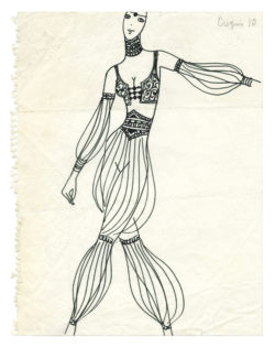 "Sketch of a costume for the ""Le H"" act in the music-hall show La Revue, directed by Roland Petit at the Casino de Paris, 1970., © Musée Yves Saint Laurent Paris"