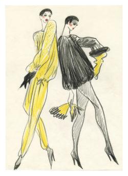 Croquis de costume pour le spectacle de music-hall Zizi dans un spectacle de Roland Petit à Bobino, Paris, 1977., © Musée Yves Saint Laurent Paris
