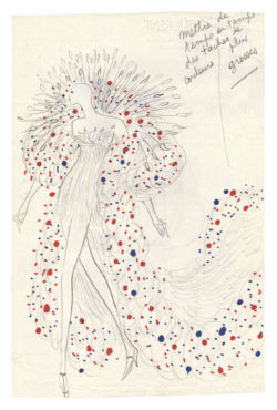 "Sketch of a costume for the""Bleu, blanc, rouge"" act in the music-hall show La Revue, directed by Roland Petit at the Casino de Paris, 1970., © Musée Yves Saint Laurent Paris"