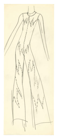 Sketch of a costume for Sylvie Vartan in her 1970 show, directed by Jojo Smith at the Olympia, Paris, 1970., © Musée Yves Saint Laurent Paris