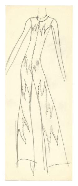 Croquis de costume pour Sylvie Vartan dans son spectacle de 1970, mis en scène par Jojo Smith à l'Olympia, Paris, 1970., © Musée Yves Saint Laurent Paris