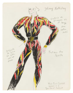 Sketch of a costume for Johnny Hallyday for his concert at the Palais des sports on September 21, 1971., © Musée Yves Saint Laurent Paris