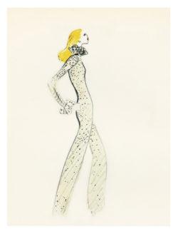 Croquis de costume pour Sylvie Vartan dans son spectacle de 1972. Chorégraphié par Howard Jeffrey à l'Olympia, Paris, 1972., © Musée Yves Saint Laurent Paris