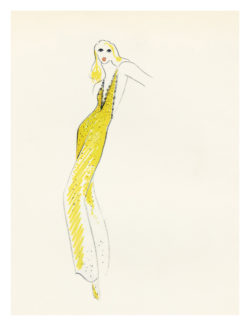 Sketch of a costume for Sylvie Vartan in her 1972 show, choreographed by Howard Jeffrey at the Olympia, Paris, 1972., © Musée Yves Saint Laurent Paris