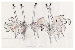 "Sketches of the Ostriches' costumes for the ""Final"" act from the music-hall show Zizi Je t'aime !, directed by Roland Petit at the Casino de Paris, 1972., © Musée Yves Saint Laurent Paris"