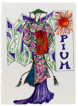 Croquis de recherche autour du lancement du parfum Opium, vers 1977-1978, Musée Yves Saint Laurent Paris