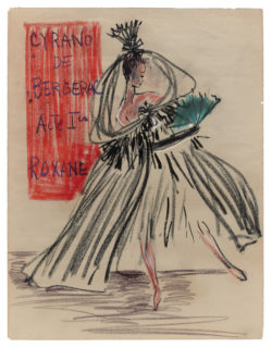 Sketch of a costume for Roxane in Act I of  the ballet Cyrano de Bergerac, choreographed by Roland Petit at the Théâtre de l'Alhambra, Paris, 1959., © Musée Yves Saint Laurent Paris