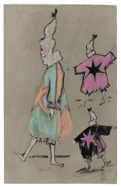 Sketches of costumes for the televised ballet Les Forains, choreographed by Roland Petit and broadcast in France on December 24, 1961., © Musée Yves Saint Laurent Paris
