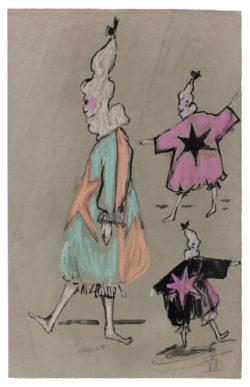 Croquis de costumes pour le ballet télévisé Les Forains, chorégraphié par Roland Petit, diffusé le 24 décembre 1961., © Musée Yves Saint Laurent Paris