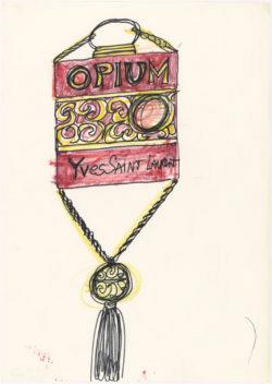 Croquis de recherche autour du flacon du parfum Opium, vers 1977, Musée Yves Saint Laurent Paris