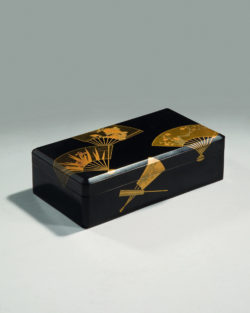 Box decorated with fans, Japan, twentieth century, former collection of Yves Saint Laurent and Pierre Bergé., © Christie's France