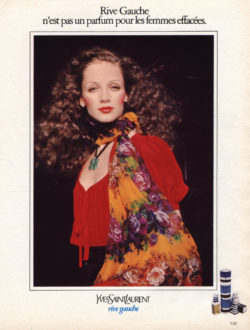 Ad for the fragrance Rive Gauche with the model Linda Lamy, 1971., © Bridgeman Images