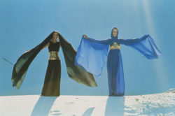 Dominique Pommier and Lisa in the desert wearing evening gowns with sculpted elements created by Claude Lalanne. Autumn-winter 1969 haute couture collection.  Photograph by Manuel Litran, published in Paris Match, August 23, 1969., © Manuel LITRAN/PARISMATCH/SCOOP