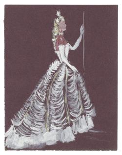 Croquis de costume (non réalisé) pour La Reine dans la pièce L'Aigle à Deux Têtes de Jean Cocteau, 1951, Musée Yves Saint Laurent Paris, © Fondation Pierre Bergé - Yves Saint Laurent / Tous droits réservés