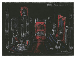 Sketch of the set (never made) for the Queen's chamber in the play L'Aigle à deux têtes (The Eagle with Two Heads) by Jean Cocteau, 1951., © Musée Yves Saint Laurent Paris