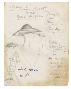 Sketch of a costume for Sophia Loren in the film Arabesque, directed by Stanley Donen in 1966 and based on the novel The Cipher by Gordon Colter., © Musée Yves Saint Laurent Paris