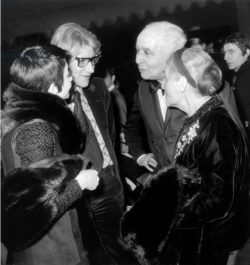 Zizi Jeanmaire, Yves Saint Laurent, Louis Aragon, and Elsa Triolet at the end of Barbara's concert, Olympia, Paris, February 4, 1969., © AGIP/Bridgeman Images