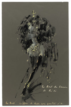 "Sketch of a costume for ""La Nuit"" created for the Bal des Têtes, hosted by Baron Alexis de Rédé at the Hôtel Lambert in Paris on June 23, 1957., © Musée Yves Saint Laurent Paris"