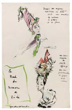 Sketch of a headdress created for the Bal des Têtes, hosted by Baron Alexis de Rédé at the Hôtel Lambert in Paris on June 23, 1957., © Musée Yves Saint Laurent Paris