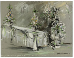 Sketch of a set created for the Bal des Têtes, hosted by Baron Alexis de Rédé at the Hôtel Lambert in Paris on June 23, 1957., © Musée Yves Saint Laurent Paris