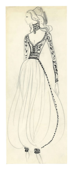 Sketch of a costume created for the Bal Oriental, hosted by Baron Alexis de Rédé at the Hôtel Lambert in Paris on December 5, 1969., © Musée Yves Saint Laurent Paris