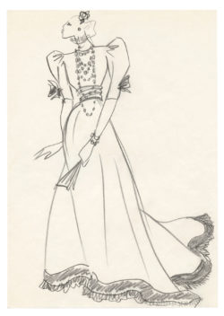 Sketch of a costume for Marie-Hélène de Rothschild on the occasion of the Bal Proust she hosted with her husband, Baron Guy de Rothschild, at the Château de Ferrières on December 2, 1971., © Musée Yves Saint Laurent Paris